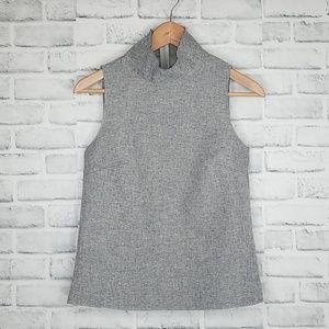 Zara W/B Collection High Neck Raw Hem Tank Size S